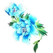 HJLWST 1PC Yimei Tattoo Stickers Large Size/Waterproof Flower Series Women/Girl/Men/Adult/Boy/Teen Blue Flower Pattern 2620cm