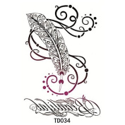 HJLWST 1pcs Temporary Tattoo Sticker Feathers and Flowers