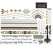 HJLWST 1Pc Gold And Silver Metallic Tattoo Sticker 23x15.5CM