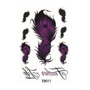 HJLWST 1pcs Temporary Tattoo Sticker Purple Feathers