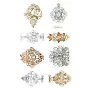 HJLWST 1Pcs Metal Rose Gold And Silver Series Fancy Pattern Tattoo Sticker
