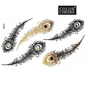 HJLWST 1Pc Gold and Black Feathers Flower Tattoo Sticker 15x9CM