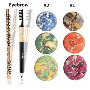 2 PCS Baked Eye Shadow Earth Colour of Diamond Bare Makeup Smoky Eyeshadow Palette Cosmetics with 1 PCS Eyebrow Pencil