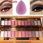 NandaBeauty 12 Colours Makeup Eyeshadow Palette Cosmetic Shimmer Glitter with Gift