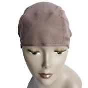 MsFenda 3pcs/lot Brown Colour Lace Wig Making Cap, Glueless Wig Cap, Weaving Mesh Net Cap, Adjustable Flexible Wig Cap