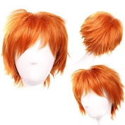 S-noilite Unisex Women Short Curly Straight Cosplay Wig Anime Hair Tail Full Wigs Dark Orange