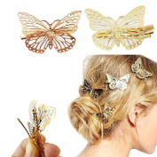 Yueton Pack of 2 Golden Butterfly Hair Clip Hair Accessories, Bride Headwear Hair Clips