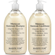 Moroccan Hammam Shampoo and Conditioner Set From Majestic Pure; 100% Natural with Organic Argan Oil, For Men & Women, Sulphate Free - No Parabens, 2 x 470ml