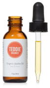Teddie Organics Golden Jojoba Oil 100% Pure Organic Cold Pressed and Unrefined 30ml - Natural Oil Moisturiser for Face Hair and Healthy Skin