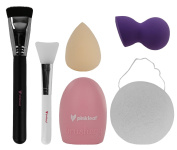 Pinkleaf Makeup Foundation/Blush Brush, Silicone Face Mask Brush, Makeup Brush Finger Cleaning Tools, Konjac Facial Sponge, Bell Shape Sponge, Water-drop Shape Sponge. 6 Piece Set.