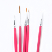 5 Piece Pink Nail Art UV Gel Design Painting Brush Pen Tool Kit