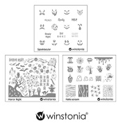 Winstonia Nail Art Stamping Image Plate Bundle Set 9 for Halloween - Spooktacular, Horror Night, Hallo-scream
