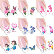Eshion 50 Sheets 3D Design Flower Nail Art Stickers Tip Decals