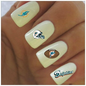 Miami Dolphins Water Slide Nail Decals