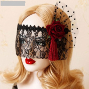 Idealgo Retro Black Lace Veil Cover Headdress Funny Party Half Face Death COS Masks Sexy Eyemask Mask for Halloween Masquerade Party