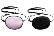 UZZO Pack of 2 Pirate Eye Patch,No Leakage Smooth Soft and Comfortable Elastic Silk Eye Patch for Adults Lazy Eye Amblyopia Strabismus, Black,Pink