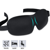 Soft Comfortable Contoured Sleep Mask Lightweight 3d Eye Mask for Deep Sleep Travel Sleeping Mask with Adjustable Hook and loop Strap - Black Colour