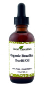100% Organic Buriti Fruit Oil | Imported From Brazil | 60ml Glass Bottle With Glass Dropper | 100% Pure | Cold-Pressed | Natural Moisturiser for Skin, Hair and Face | By Sweet Essentials