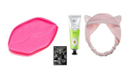 Bundle[4pcs]Lovely & Cute! Lip MakeupPouch(Pink)+HandCream+Charcoal Facial Mask+CatEar HeadBand