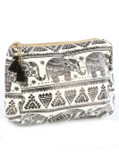 Elephant Print Cosmetic Makeup Bag or Pouch Wallet Black White