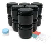 Black 240ml Double Wall Plastic Jar with Lid 12 pk with Mini Jar