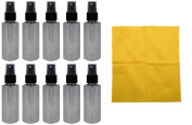 10 - 60ml Clear PET Bottle with Black Fine Mist Sprayer & Microfiber Cloth