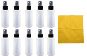 10 - 60ml Natural HDPE Bottle with Black Fine Mist Sprayer & Microfiber Cloth