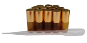 12 New 5ml Amber Glass Roller Bottles Roll On Bottle Container with Metal Ball for Essential Oil Aromatherapy Perfumes and Lip Balms with Shinny Gold Cap - 3ML Dropper Included