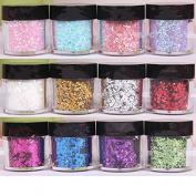 Ecbasket 12 Jars Mix Colour Shinning Glitter Powder Nail Powder Dust Powder Glitter Pigments for Party #1
