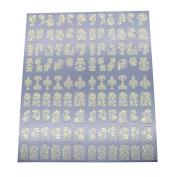 AENMIL 3D Flower Bronzing Nail Art Sticker, Metal Decals DIY Decoration Tools - Gold