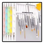 Swity Home 20pcs Nail Art Manicure Pedicure Beauty Painting Polish Brush and Dotting Pen Tool Set, 20pc Kit Set