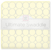 SwaddleDesigns Ultimate Receiving Blanket, Sterling Mod Circles on Sunwashed Pastels, Sunwashed Yellow