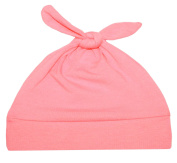 Woombie Cotton Double Knot Beanie Hats, Salmon Pink, 0-6m