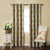 H.Versailtex Sophisticated Printed Blackout Bedroom Curtains,Grommet Top,52 by 96 - Inch,Diamond Pattern in Taupe
