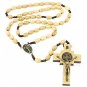 White Wooden St Benedict Rosary Beads
