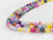 COIRIS 2Strands 6MM Natural Assorted Agate Faceted Gem Round Loose Stone Beads for Jewellery Making & DIY & Design