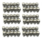 QTMY 60 PCS 4mm Macroporous Skull Spacer Beads for Jewellery Making Supplies in Bulk