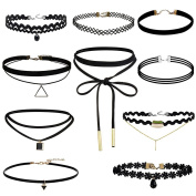 10 Pieces Black Classic Velvet Stretch Gothic Tattoo Lace Choker Necklace for Women Girls