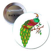 Peacock 2 Pinback Button Brooch 3.2cm