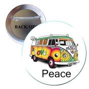 Peace Hippie Signs Automobile Car Auto 70s Pinback Button Brooch 3.2cm