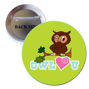 Owl You (Love you) Pinback Button Brooch 3.2cm