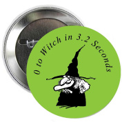 Witch Halloween Pinback Button Brooch 3.2cm