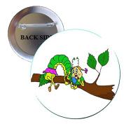 Ms Caterpillar Pinback Button Brooch 3.2cm
