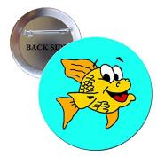 Adorable Fish Pinback Button Brooch 3.2cm