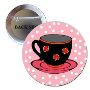 Cup and Saucer Pinback Button Brooch 3.2cm