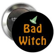 Bad WitchHallowen Pinback Button Brooch 3.2cm