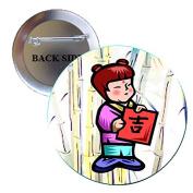 Asian Little Girl Pinback Button Brooch 3.2cm