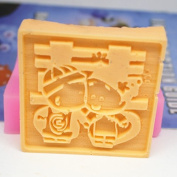 "Let'S Diy Chinese Style ""Double Blessing"" Cute Couple 3D Silicone Non-Stick Handmade Soap Moulds Wedding Decoration"