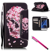 Galaxy S7 edge Case, Firefish Kickstand Flip [Card Slots] Wallet Cover Double Layer Bumper Shell with Magnetic Closure Strap Case for Samsung Galaxy S7 edge-Skull