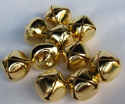 "LOT of 25 Pcs Small Craft Bells Shiny GOLD Tone Jingle BELLS, 25mm (1"") Metal Craft Holiday Bells Charms Decorations Sewing Supplies Craft Designs, Christmas Tree Accessory"